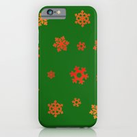 iPhone & iPod Case featuring Snowflakes (Red & Gold on Green) by Paul James Farr