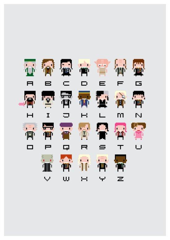 Harry Potter Alphabet Art Print