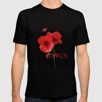 FLOWERS - Poppy heaven Mens Fitted Tee Black SMALL