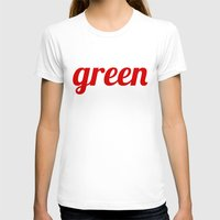 Green Womens Fitted Tee White SMALL