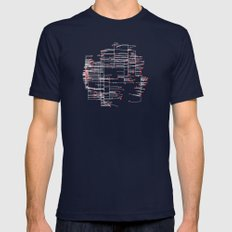 Grid Work Mens Fitted Tee Navy SMALL