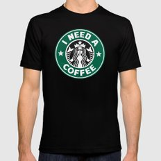 I need a coffee! Mens Fitted Tee Black SMALL