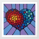 Love Conquers All - Colorful mosaic heart by Labor of Love artist Sharon Cummings. Art Print