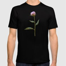 Peonies on Black SMALL Mens Fitted Tee Black