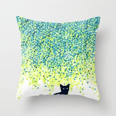 Cat in the garden under willow tree Throw Pillow