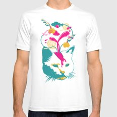 Liquid thoughts:Cat White SMALL Mens Fitted Tee