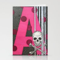 Pink Skull A Stationery Cards