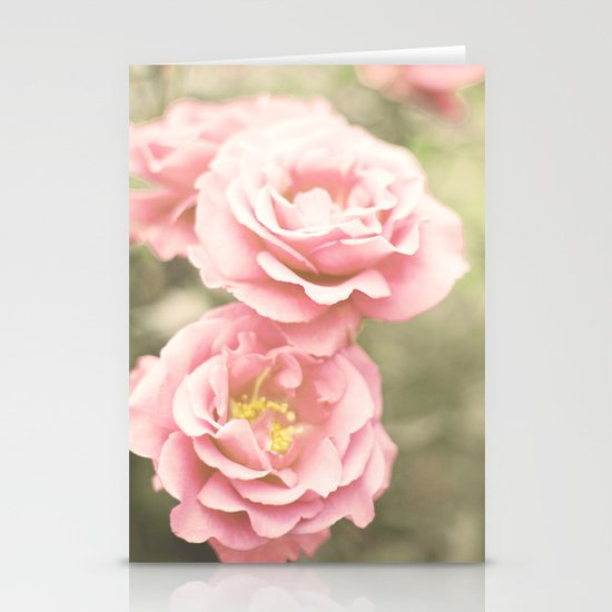 Haze Roses (Retro and Vintage Flower Photography) Stationery Card