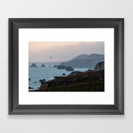 Framed Art Print featuring Pelicans At Dusk, Dillon… by David Hohmann
