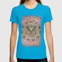 Vintage Owl Womens Fitted Tee Teal SMALL