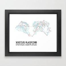 Whistler Blackcomb, BC, Canada - Minimalist Trail Map Framed Art Print