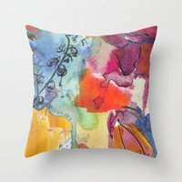 Abstract floral watercolour Throw Pillow