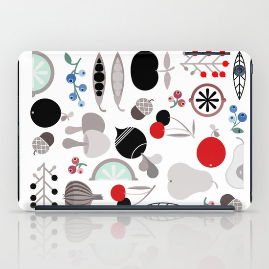 Mushroom Berries Nuts and Fruits / Classic 50s pattern iPad Case
