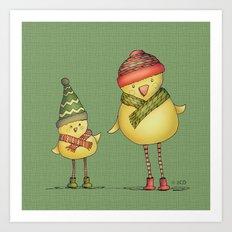 Two Chicks - Green Art Print