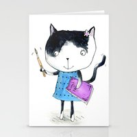 Creative Mono Cat  Stationery Cards