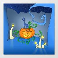 Halloween - Cat On Pumpkin Canvas Print