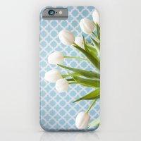 iPhone & iPod Case featuring Tulip Endearment - White & Aqua by Jean Ladzinski