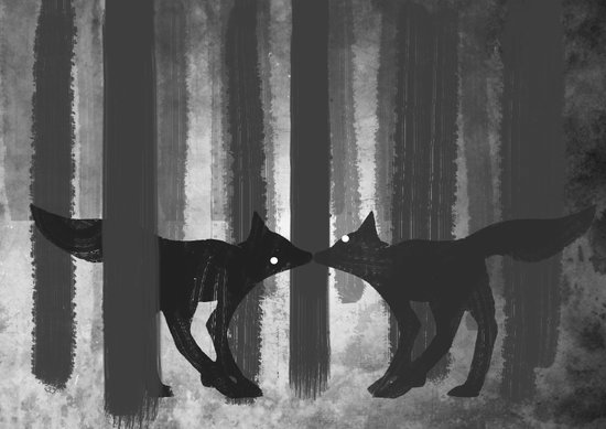foxes in the forest Art Print