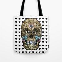 Skull Say Love Hearts (H… Tote Bag