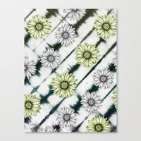 Green Daisies Smile Canvas Print