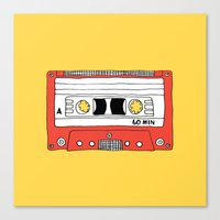 Cassette Tape // yellow and red // large Canvas Print
