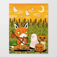 The Fox and the Pumpkin Canvas Print