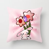 Little Pink Bunny With Flowers Throw Pillow
