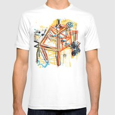 yellowredblueandblack White Mens Fitted Tee SMALL