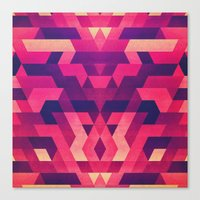 Abstract symmetric geometric triangle texture pattern design in diabolic future red Canvas Print