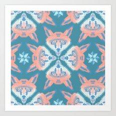 Pastel Fox Pattern Art Print