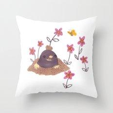 Hello Mole! Throw Pillow