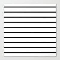 Thin Black Stripe Pattern Canvas Print