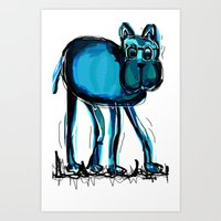 blue dog Art Print