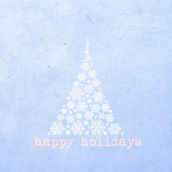 Blue Happy Holidays Christmas Design Art Print