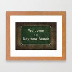 Welcome to Daytona Beach roadside sign illustration Framed Art Print