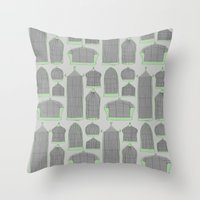 Birdcages (Gray) Throw Pillow
