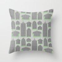 Birdcages (Gray) Throw Pillow