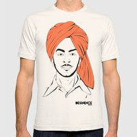 Bhagat Singh #IpledgeOrange Mens Fitted Tee Natural SMALL