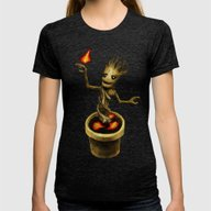 Groot Womens Fitted Tee Tri-Black SMALL