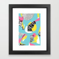 Modern living with lagoon view Framed Art Print