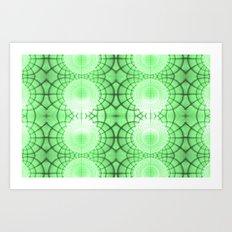 Green Grid Spheres Art Print