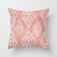 mint & coral tribal pattern (2) Throw Pillow