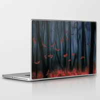 autumn Laptop & iPad Skins featuring Red feather dance  (colour option) by Viviana Gonzalez