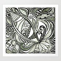 Zentangle Flowering Art Print