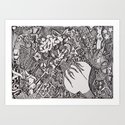 Black & White Bodies Abstract Art Print
