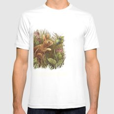 The Cottontail and the Katydid White Mens Fitted Tee SMALL