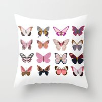 Pink Butterfly Collage Throw Pillow