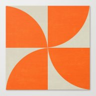 Canvas Print featuring Mod Petals - Orange by Her Art