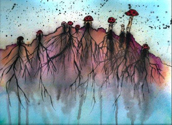Mushroom Villiage  Art Print