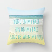 Wind In My Hair Throw Pillow